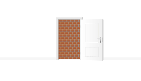 Opened white door, but obstructed by an impenetrable brick wall. Symbol for being trapped, jailed and banished, and for blockade, barricade, barrier, captivity or obstruction. Vector illustration.