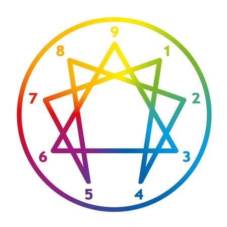 Enneagramma della personalità. Segno, logo, pittogramma con nove numeri, anello e tipica figura strutturata. Gradiente arcobaleno colorato illustrazione vettoriale su sfondo bianco.