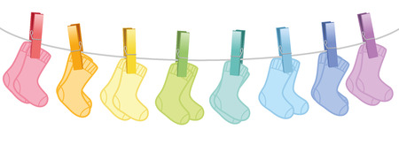 Baby socks. Colored pairs hanging on a clothes line. Isolated vector illustration on white background. Illustration