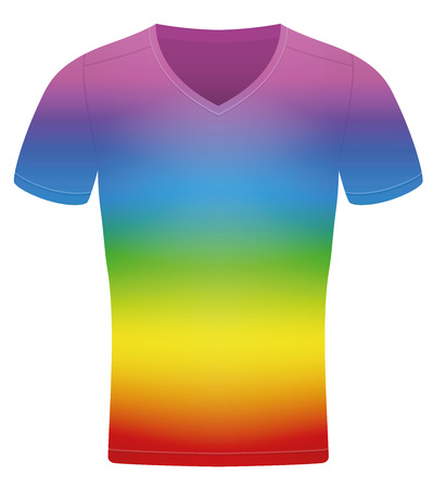 Rainbow colored t-shirt. Isolated vector illustration on white background.