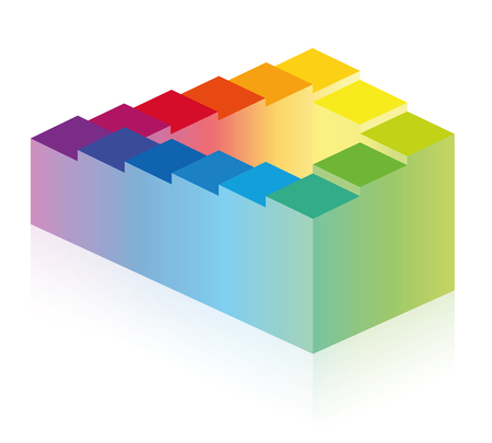 Penrose stairs. Optical illusion of an impossible staircase, symbolic of infinity, eternity and impossibility or for a long, endless or arduous, paradox path. Rainbow colored illustration on white.