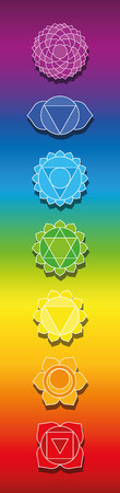 Seven chakras on rainbow colored background. Bookmark format illustration of spiritual, healing symbols.