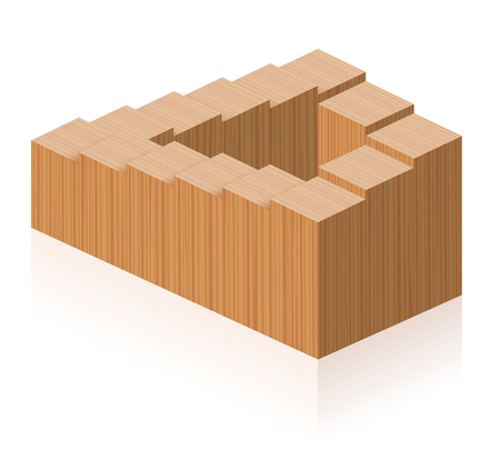 Penrose steps. Optical illusion of a wooden impossible staircase forming a continuous loop. Illustration on white background.