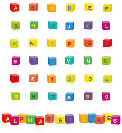 Colorful alphabet cubes with letters and numbers to select and put together. Isolated vector illustration on white background.