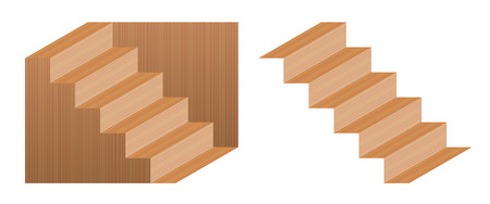 Optical illusion staircase called Schroeder stairs. Wooden object which may be seen as leading down staircase, from left to right, or turned upside down. Perspective reversal. Stock Vector - 116939170
