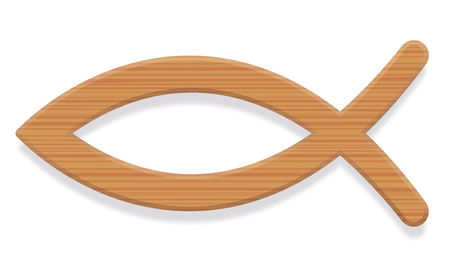Jesus fish. Wooden textured Christian symbol of two intersecting arcs. So called ichthys or ichthus, the Greek word for fish. Illustration. Vector. Vettoriali
