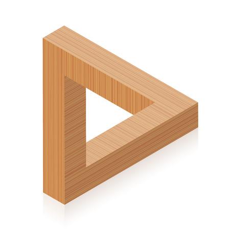 Penrose-driehoek. Onmogelijk houten object, lijkt een massief object, gemaakt van drie rechte staven. Geïsoleerde vector op witte achtergrond.