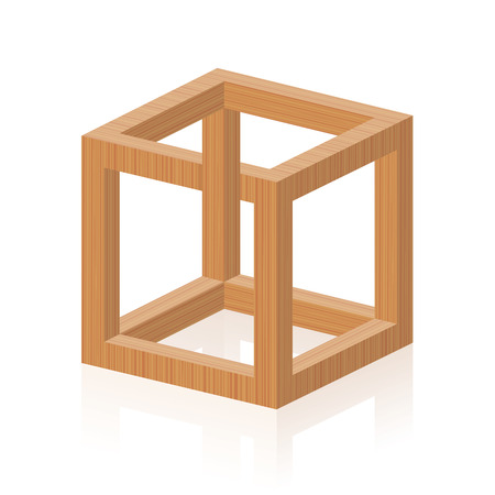 Optical illusion. Impossible or irrational cube, invented by MC Escher. Isolated wooden textured vector illustration on white background. Illustration