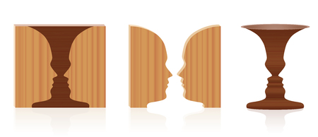 Faces vase optical illusion. Wooden textured 3d figure-ground perception. In psychology known as the figure from background. Vector illustration over white.