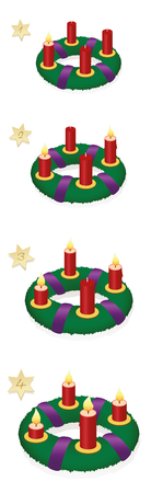 Advent wreath with one, two, three, four burning red candles in chronological order on first, second, third and fourth Sunday of Advent, with numbered golden stars - vector on white, high size. Çizim