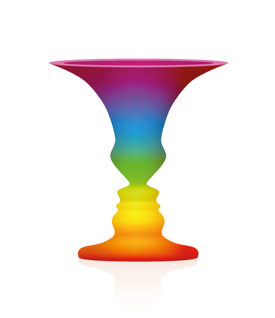 Optical illusion. Vase with two faces in profile. In psychology known as the figure from background. Rainbow colored three-dimensional vessel. Isolated vector illustration on white background. 向量圖像