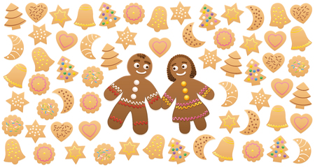 Christmas cookies and gingerbread man and woman in love. Illustration on white background.