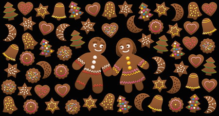 Gingerbread man and woman in love among Christmas cookies with different familiar shapes and colorful sweet decorations. Illustration on black background.