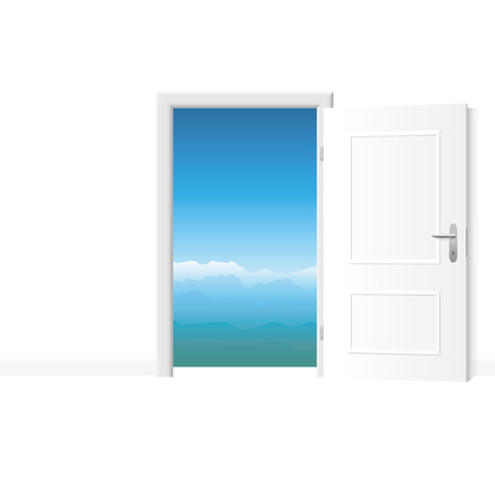 Open white door with mountain view. Bright white room with access to fresh and pure air. Vector illustration.