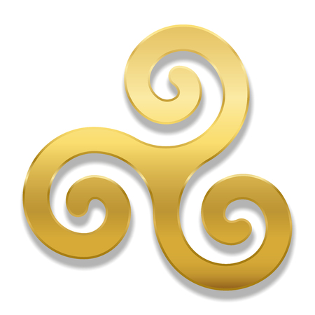 Golden celtic spiral triskele on white background. Triskelion. A motif consisting of a triple spiral exhibiting rotational symmetry. Three twisted and connected spirals. Isolated illustration. Illustration