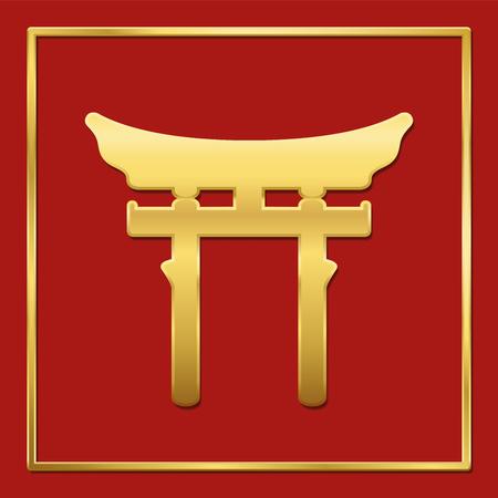 Golden shinto symbol on red background, golden frame, vector illustration. Illustration