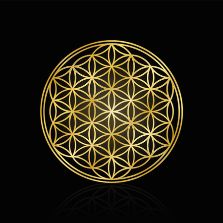 Golden Flower of Life, used for decoration or golden pendant. Geometrical symbol on black background.