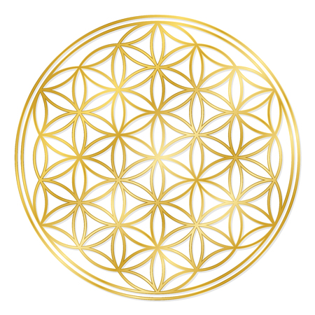 Golden Flower of Life, used for decoration or golden pendant. Geometrical symbol on white background.