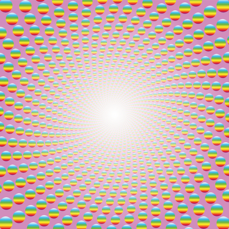 Rainbow colored balls forming a spiral on pink background with bright white center. Twisted circular background illustration, hypnotic and psychedelic, like a trip to a fantasy world.