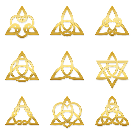 Celtic triangle knots. Nine golden symbols used for decoration or golden pendants. Varieties of endless basket weave knots. Illustration