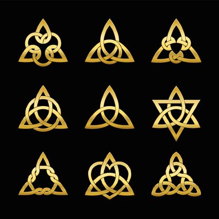 Celtic triangle knots. Nine golden symbols used for decoration or golden pendants. Varieties of endless basket weave knots. Vector illustration on black background.
