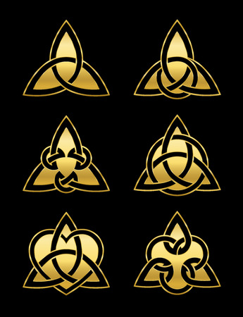 Celtic triangle knots. Six golden symbols used for decoration or golden pendants. Varieties of endless basket weave knots. Vector illustration on black background.