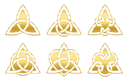 Golden celtic triangle knots. Six golden symbols used for decoration or golden pendants. Varieties of endless basket weave knots.
