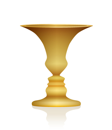 Optical illusion. Vase with two faces in profile. Golden colored three-dimensional chalice. In psychology known as identifying figure from background. Isolated vector illustration on white background. 向量圖像