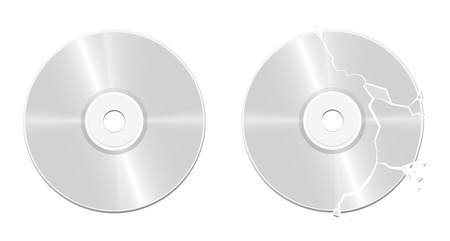 Intact CD and broken, damaged, corrupted, ruined, destroyed, bursted, wrecked, smashed, demolished, vandalized compact disc - realistic isolated vector illustration on white background.