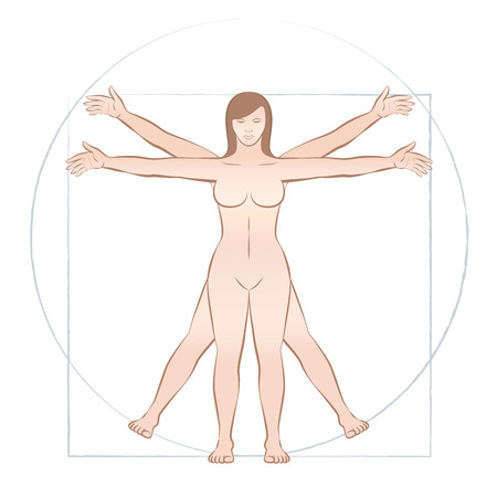 Vitruvian woman. Sacred geometry in graphic art and anatomical proportions represented by a female naked body illustration. Isolated vector on white background.