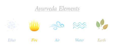 Ether, Fire, Air, Water, Earth. Set of five Ayurveda elements. Isolated symbols, vector illustration on white background. Illustration