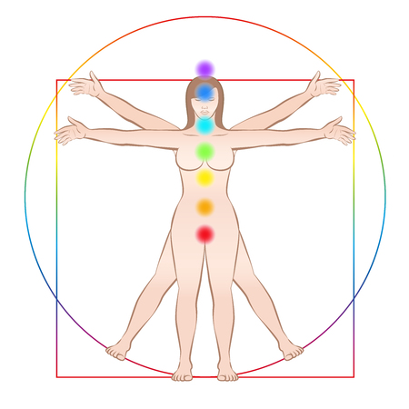 Vitruvian woman. Female body with the seven main chakras. Isolated vector illustration on white background.