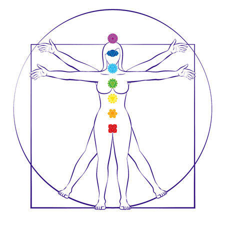 Chakras of female body. Vitruvian woman with seven main chakra symbols. Isolated vector illustration on white background.
