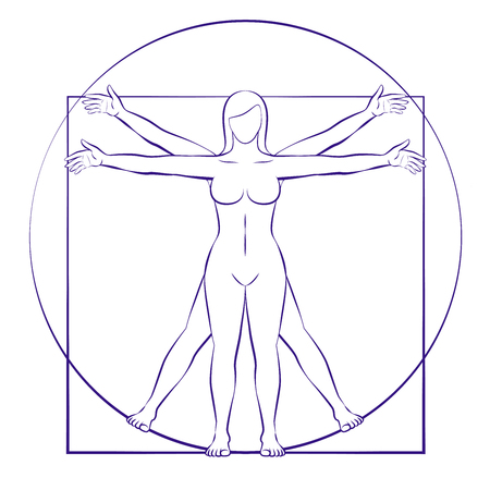 Vitruvian woman. Sacred geometry of female body placed in circle and square. Isolated vector illustration on white background.