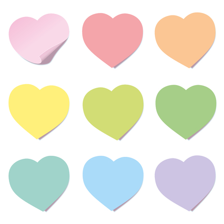 Heart post collection. Sticky notes, heart shaped, different colors. Isolated vector illustration on white background.