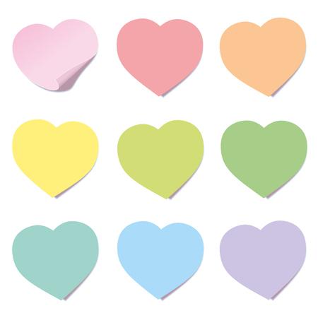 Raccolta della posta del cuore. Note adesive, a forma di cuore, colori diversi. Illustrazione vettoriale isolato su sfondo bianco. Vettoriali