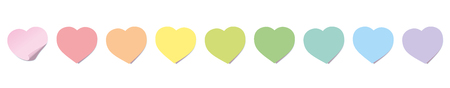 Sticky notes, heart shaped, rainbow colored line. Isolated vector illustration on white background.