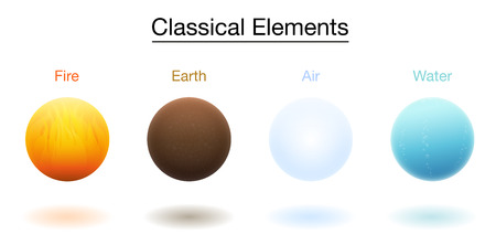 Fire, earth, air and water, the classical four elements. 3d spheres. Isolated vector illustration on white background.