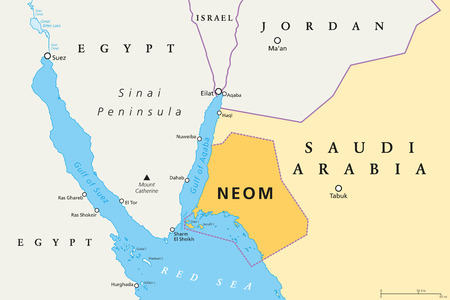 NEOM political map of the 500 billion dollar megacity project in Saudi Arabia along the Red Sea coast. Location of the smart and tourist city with autonomous judicial system. English labeling. Vector.