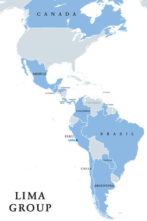 Lima Group, multilateral body, political map. Twelve countries signed a declaration to establish a peaceful exit to the crisis in Venezuela. Guyana, Saint Lucia joined later. English labeling. Vector.
