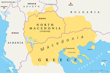 Macedonia region, political map. Region of the Balkan Peninsula in Southeast Europe. Part of Greece, North Macedonia, Bulgaria, Albania, Kosovo and Serbia. English labeling. Illustration. Vector.
