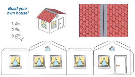 Hauspapiermodell. Einfache Vorlage - Comic-Hütte mit weißen Wänden und rotem Dach. Ausschneiden, falten und kleben. Isolierte Vektor-Illustration auf weißem Hintergrund.