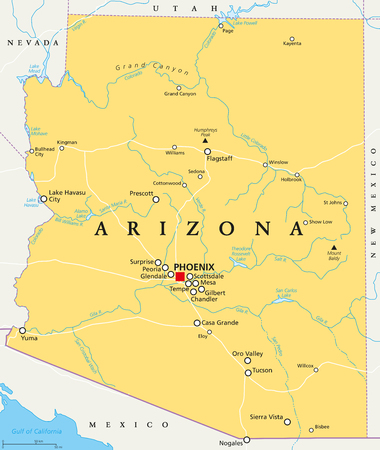 Arizona political map with capital Phoenix, important cities, rivers, lakes. State in southwestern region of United States, Part of Western and Mountain States. English labeling. Illustration. Vector. Illustration