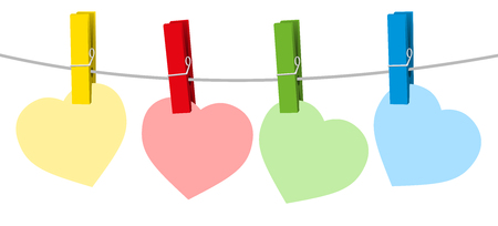 Four colored paper hearts and clothes pins on a clothes line rope. Isolated vector illustration on white background. Vetores