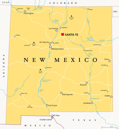 New Mexico, political map, with capital Santa Fe, borders, important cities, rivers and lakes. State in the Southwestern region of United States of America. English labeling. Illustration. Vector. Illustration