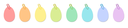 Easter eggs, colorful sticky notes with colored paper clips. Isolated vector illustration on white background.