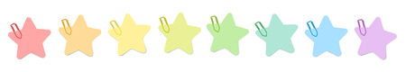 Star shaped colorful notes with colored paper clips. Isolated vector illustration over white background.