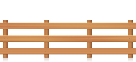 Pasture fence, wooden texture. Isolated vector illustration on white background. Vetores
