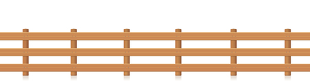 Pasture fence, seamless extendable, wooden textured. Isolated vector illustration on white background. Vetores