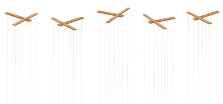 Steuerstangen für Marionetten aus Holz. Fünf Artikel mit Schnüren und ohne Puppen. Symbol für Manipulation, Kontrolle, Autorität, Herrschaft - oder einfach nur als Spielzeug für einen Puppenspieler. Isolierter Vektor auf weiß. Vektorgrafik